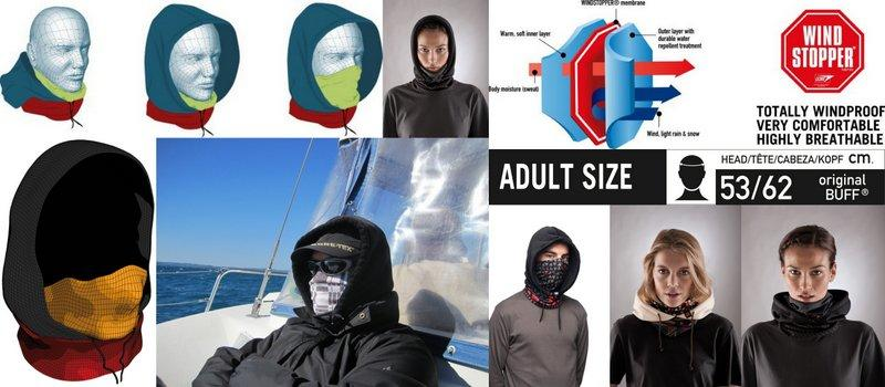 Collage showing the Hood Buff® worn in the 3 combinations scarf, scarf & hood and facemask & hood