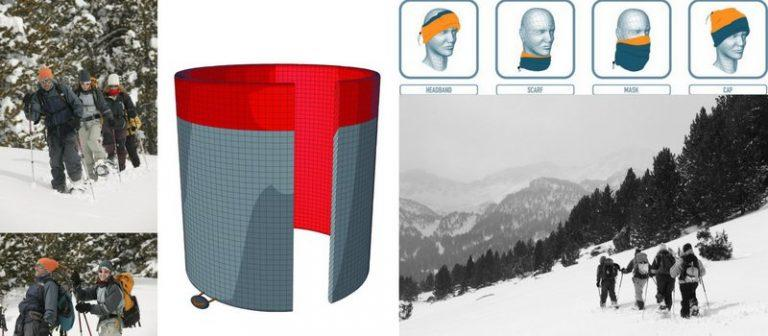 Collage showing people wearing the Neck Warmer Buff® in the snow as scarf, face mask, earwarmer and beanie