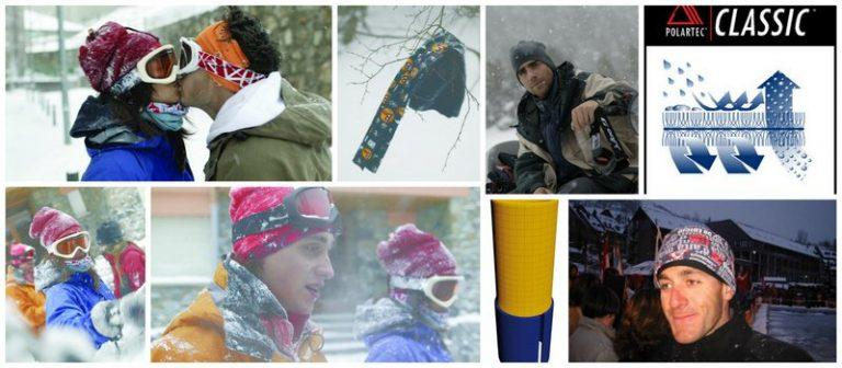 Collage of people wearing a Polar Buff® in the snow as scarf, beanie and facemask