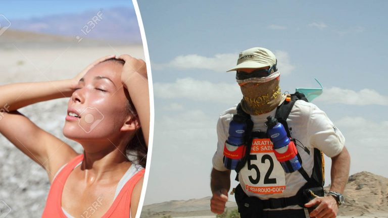Photomontage Left image: Stock photo - A woman in a desert looking overheated, thirsty and close to a heat stroke. Copyright: maridav / 123RF Stock Photo Right image A participant of the Marathon Des Sables running through the desert. He is wearing a custom made High UV Buff® as face mask. Copyright is unknown. Distributed by Original Buff® S.A. for the promotion of Buff® products