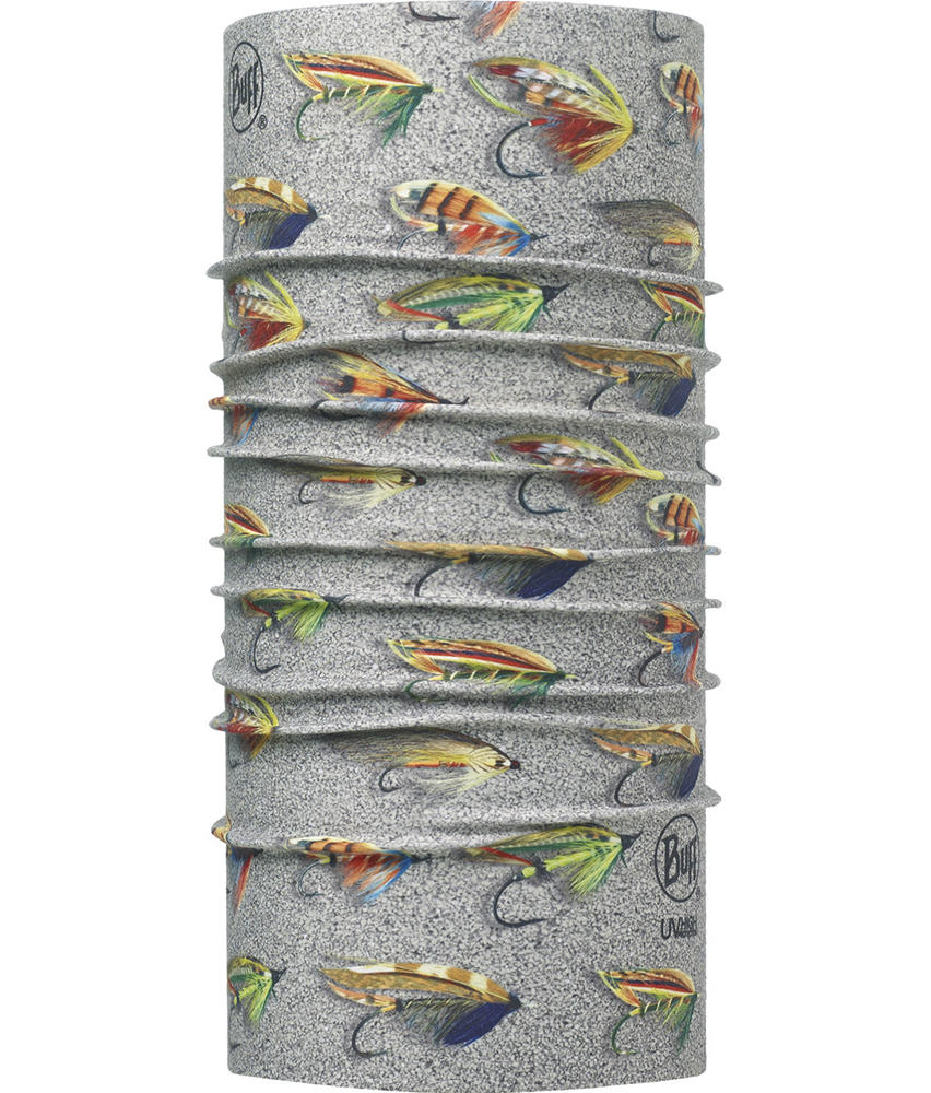 """Image of High UV Buff® design """"Salmon Flies Sand"""". It is part of the Angler Collection"""