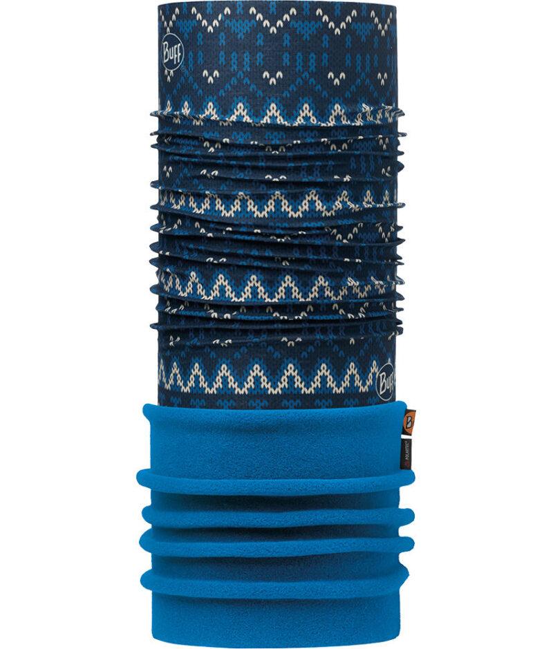 "Image of the Polar Buff® design ""Knit Dark Navy / Harbor"". The Buff® fabric part is the design ""Knit Dark Navy"". The Polartec® Fleece part is the colour ""Harbor""."