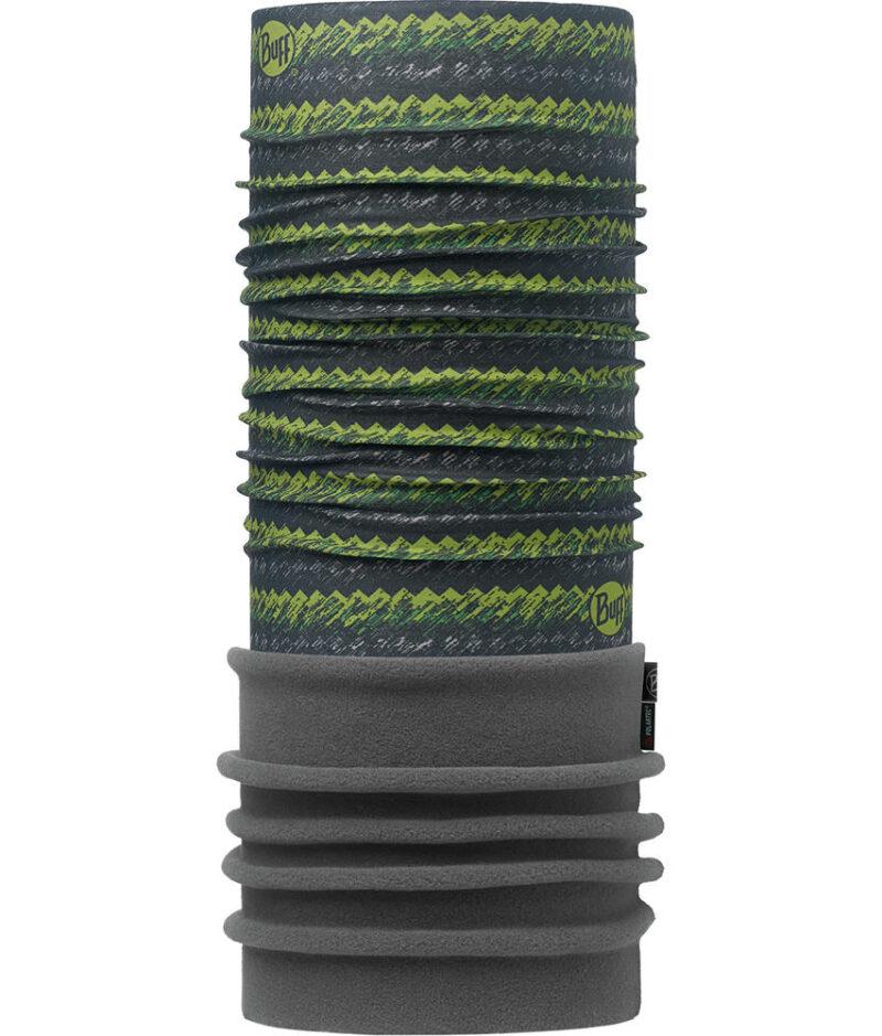 "Image of the Polar Buff® design ""Von Green / Flint"". The Buff® fabric part is the design ""Von Green"". The Polartec® Fleece part is the colour ""Flint""."