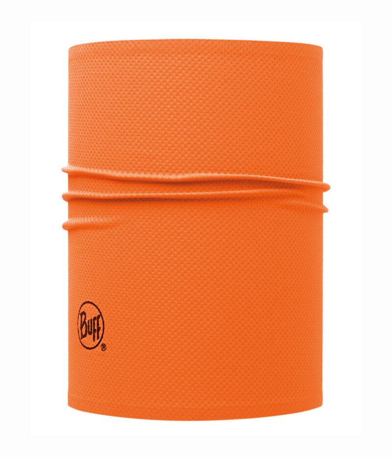 "Studio photo of the Professional range Helmet Liner Buff® design ""Fluor Orange"". Source: buff.eu"