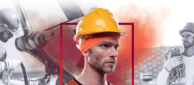 Photomontage: A man wearing a Orange fluor Pro Helmet Liner Buff® underneath a bright yellow hard hat. To the left is a men working in a mine on heavy equipment. On the right is a man working on a construction site. All three men are wearing a Helmet Liner Buff® underneath their hard hat. Source: Buff® Denmark