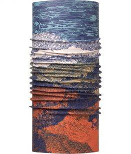 "Studio photo of the High UV Buff® Design ""Landscape Multi"". A pencil art design showing a mountain landscape. The colours range from blue for the sky to red for the soil. It is a one sided printed design. The inside is plain white. Source: buff.eu"