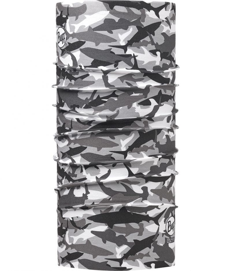 "Picture of the High UV Buff® design ""Shark Camo Grey"". A camouflage type design with shark silhouettes used like stencils. The colours used a white, grey, & black. It is a one sided printed design. The inside is white. Source: buff.eu"