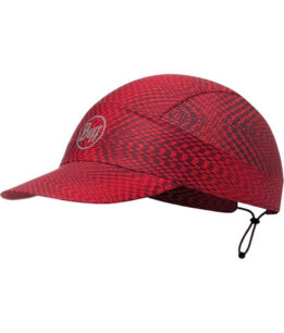 "A studio photo of the Buff® Pack Run Cap design ""Jam Red"". Source: buff.eu"