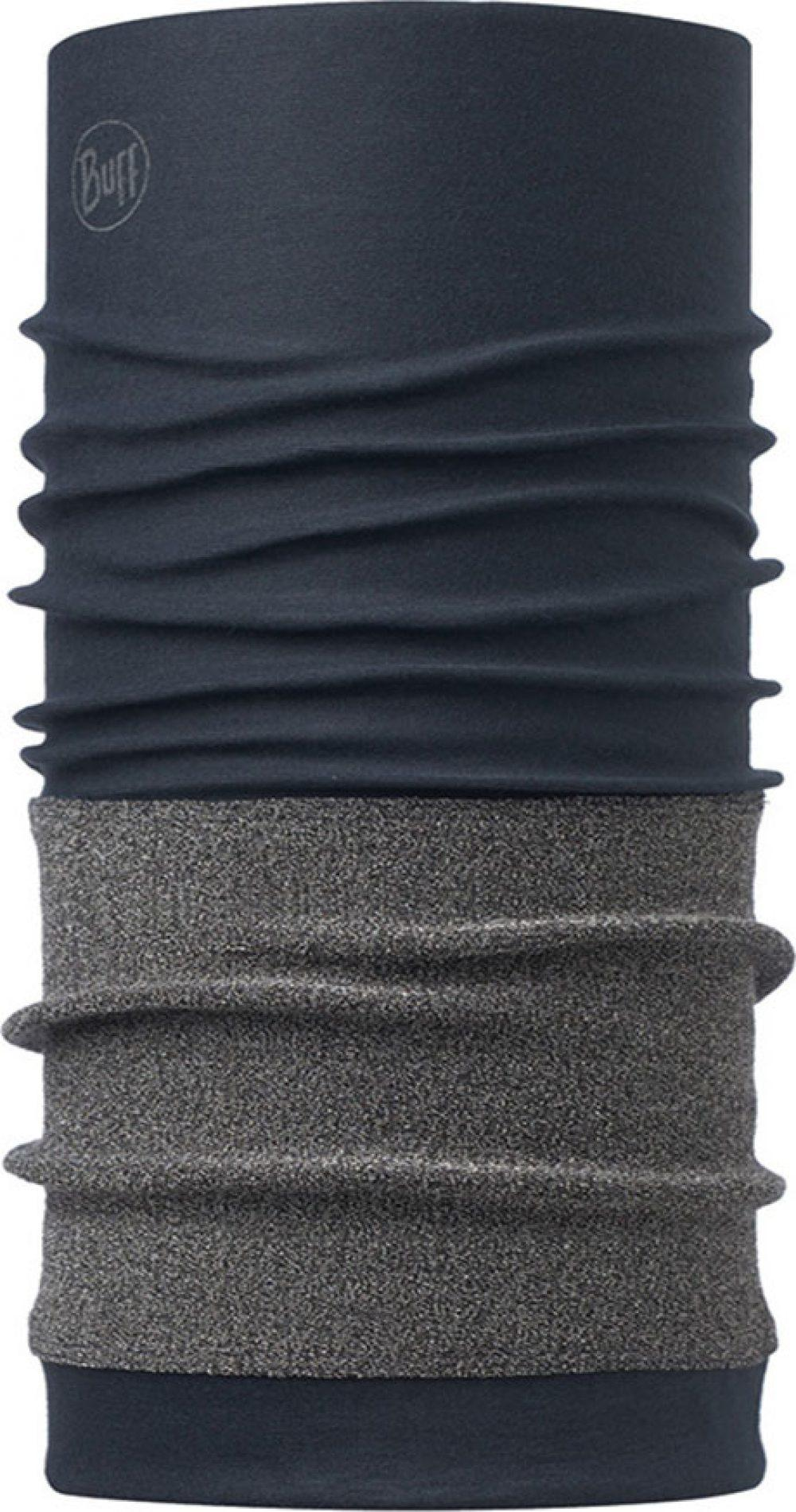 "Image of the Cutproof Buff® design ""Navy"". It's blue tube (neck sock) with a grey cut protection layer covering most of the lower half of the Buff®. Source: buff.eu"