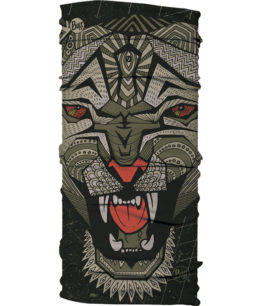"A studio photo of the Original Buff® Design ""Metal Leopard"". It's an African graphic art inspired design of a leopard. Source: buff.eu"