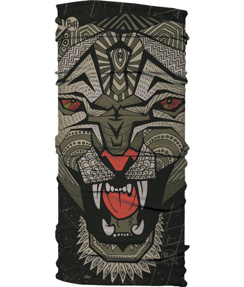 "A studio photo of the Original Buff® Design ""Metal Leopard"". It's an African graphic art inspired design of a leopard. Source: buff.eu"