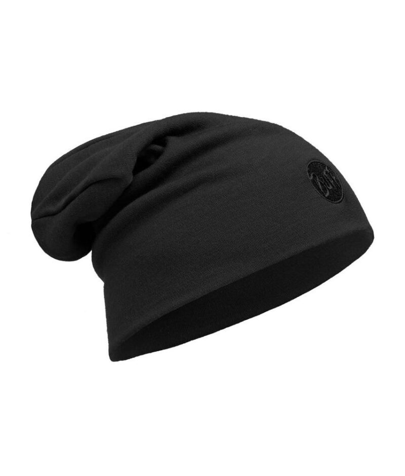 "A studio photo of the Heavyweight Merino Wool Loose Hat design ""Solid Black"". Source: buff.eu"
