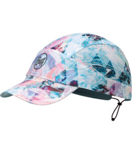 "Studio photo of the Pack Run Cap design ""Irised Aqua"". Source: buff.eu"