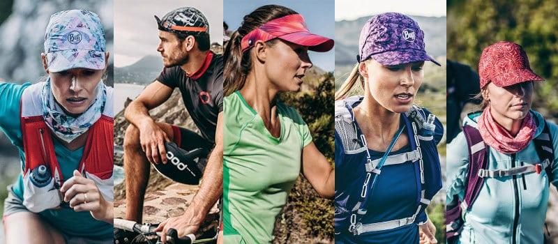 A photo montage of the 5 different caps Buff® offers. The first is the Pack Run Cap for ultra running. The second is the Pack Bike Cap for road cycling. The 3rd is the Pack Run Visor for ultra running. The 4th is the Pro Run Cap for jogging/running. The 5th is the Pack Treck Cap for hiking or trekking. Source: buff.eu