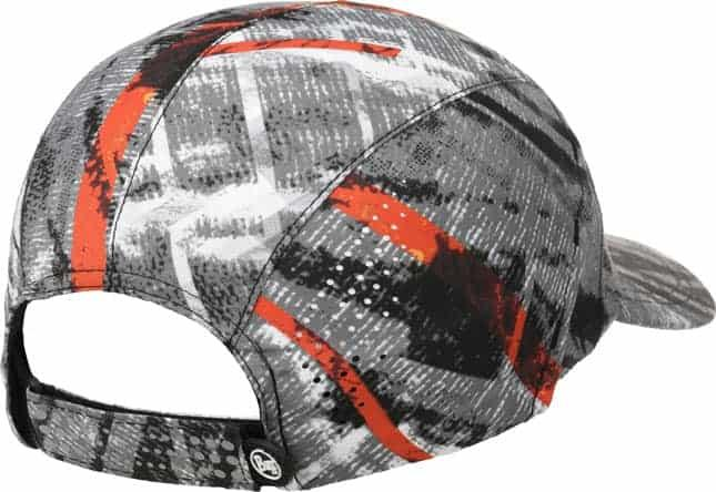 "A studio photo of the Back Side of Pro Run Cap design ""City Jungle Grey"". Source: buff.eu"