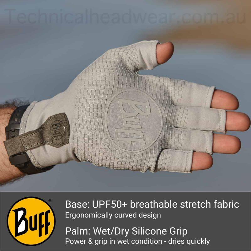A montage of the Buff® Water Glove base showing a photo of a glove on a male hand. Underneath are a Buff® logo and an explanation of the base features