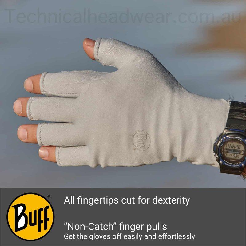 A montage of the Buff® Water Glove backhand showing a photo of a glove on a male hand. Underneath are a Buff® logo and an explanation of the back hand features