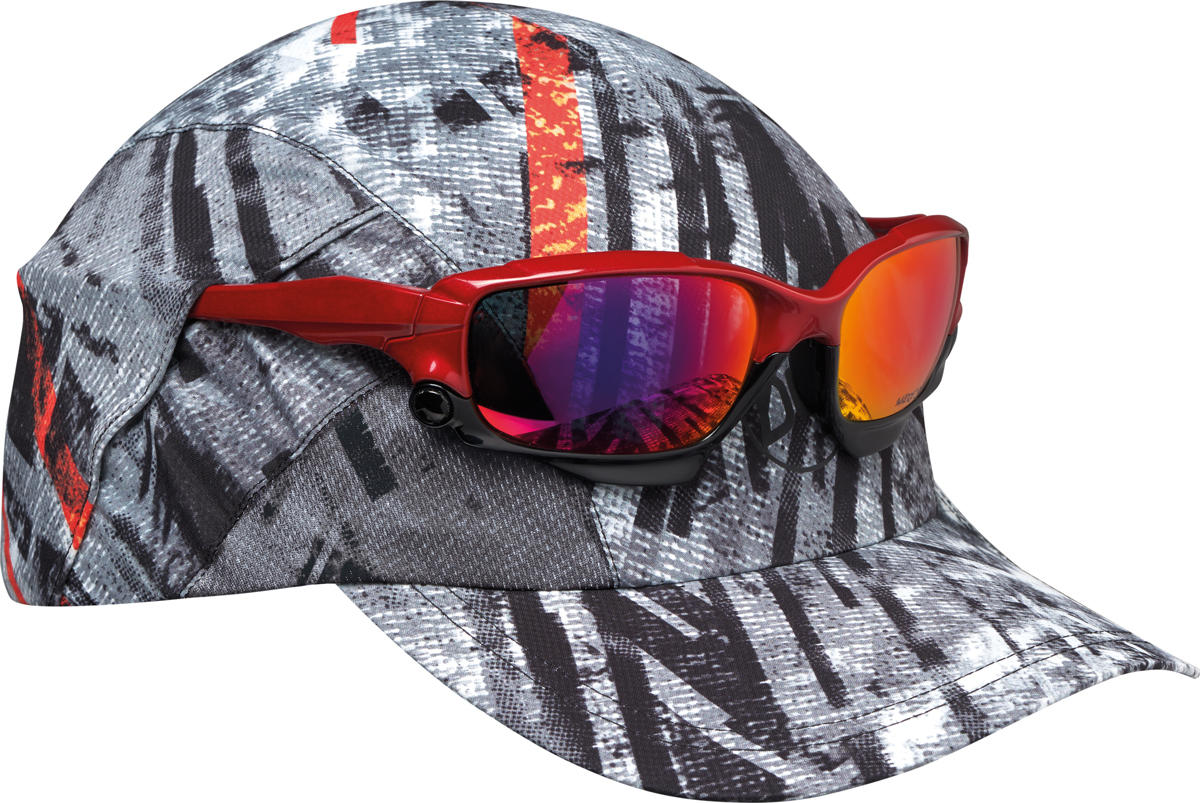 "A studio photo of the Pro Run Cap detail ""Sunglass Holder"". 2 pockets allow you to secure your sunglasses on top of the visor in 2 positions. Source: buff.eu"
