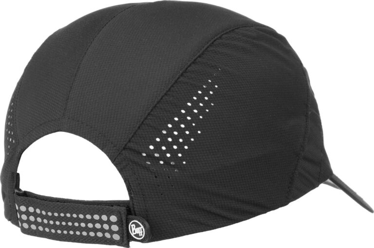 "A studio photo of the Pro Run Cap detail ""Laser Cut Holes"". Laser cut holes on the side panels create extra ventilation. Source: buff.eu"