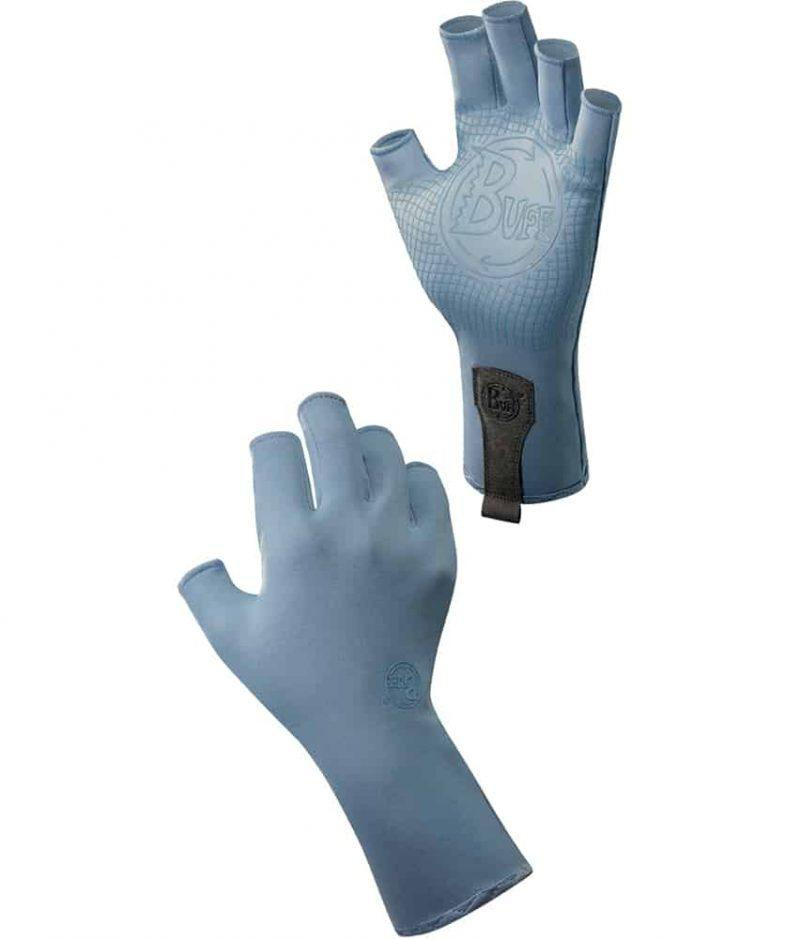"Studio Montage of the Water Glove Design ""Glacier Blue"". It shows the glove from the palm and the backhand side. Source: buff.eu"