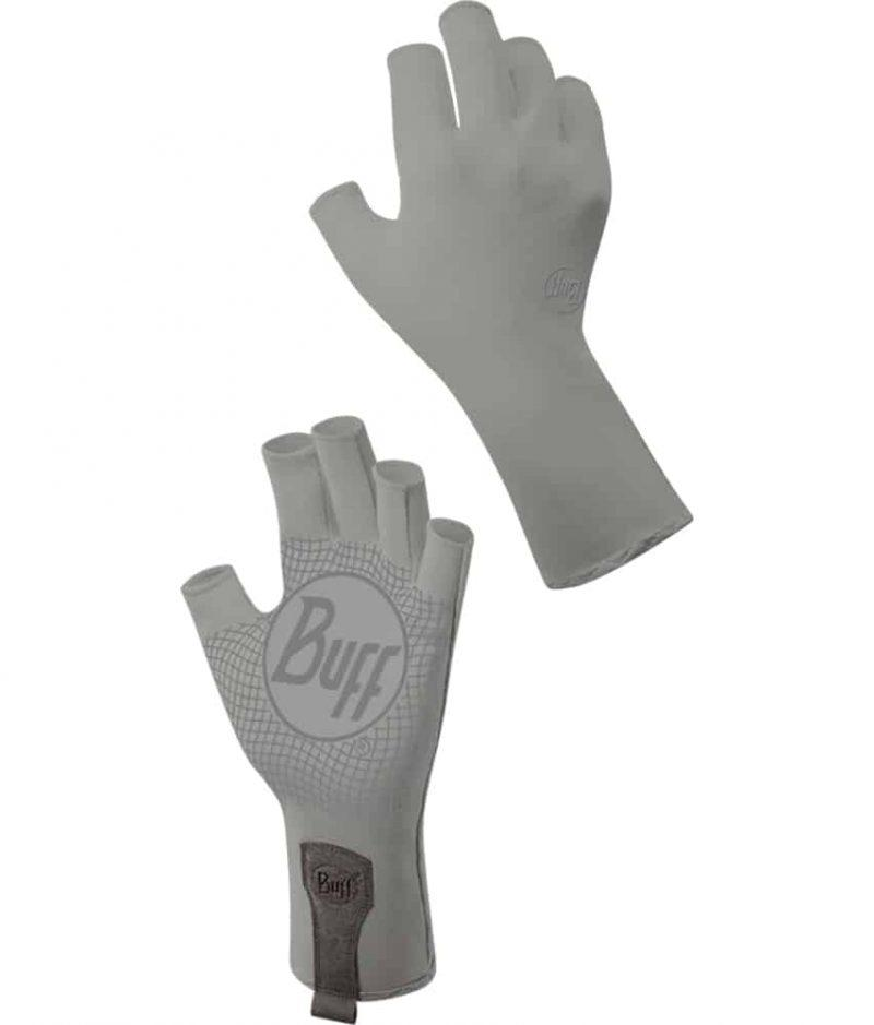 "Studio Montage of the Water Glove Design ""Light Grey"". It shows the glove from the palm and the backhand side. Source: buff.eu"