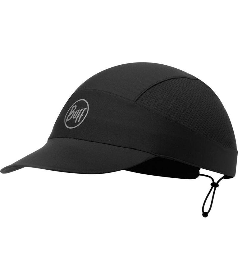 """Studio photo of the Buff® Pack Run Cap Design """"R-Black"""". Source: buff.eu"""
