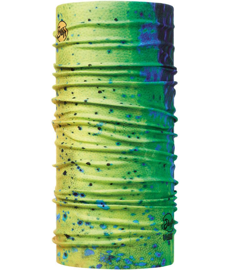 "Studio photo of the Coolnet UV Buff® Angler Collection Design ""Dorado"". Source: buff.eu"