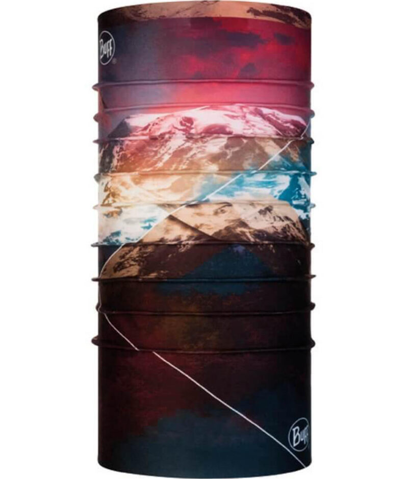 "Studio photo of the back side of the Original Buff® Mountain Collection Design ""Mount Rainier"". Source: buff.eu"