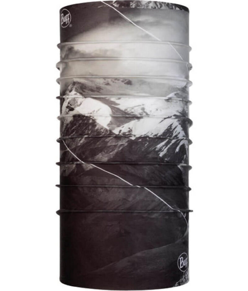 "Studio photo of the back side of the Original Buff® Mountain Collection Design ""Denali"". Source: buff.eu"