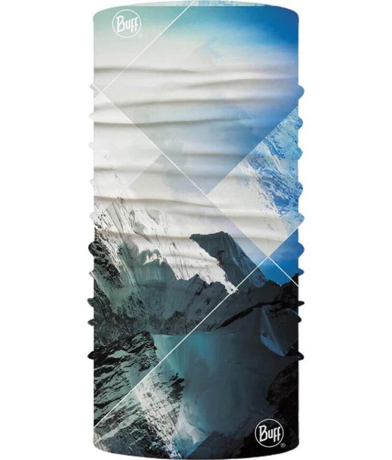 "Studio photo of the Original Buff® Mountain Collection Design ""Himalayas Mount Everest"" (back side). Source: buff.eu"