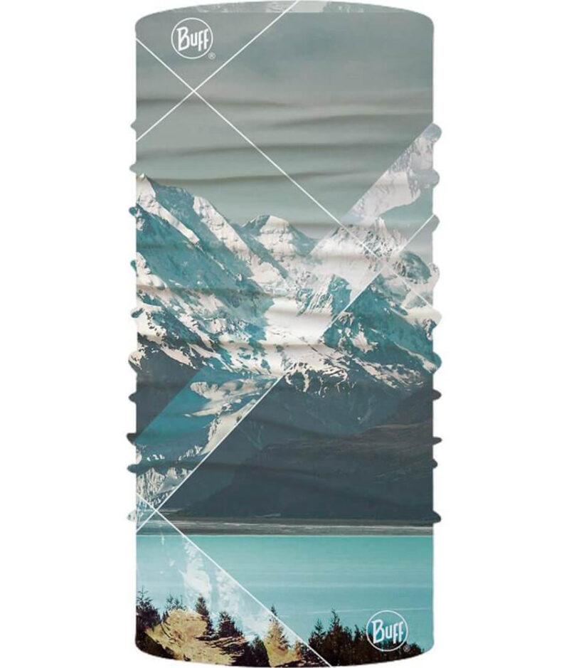 "Studio photo of the Original Buff® Mountain Collection Design ""Mount Cook"" (back side). Source: buff.eu"