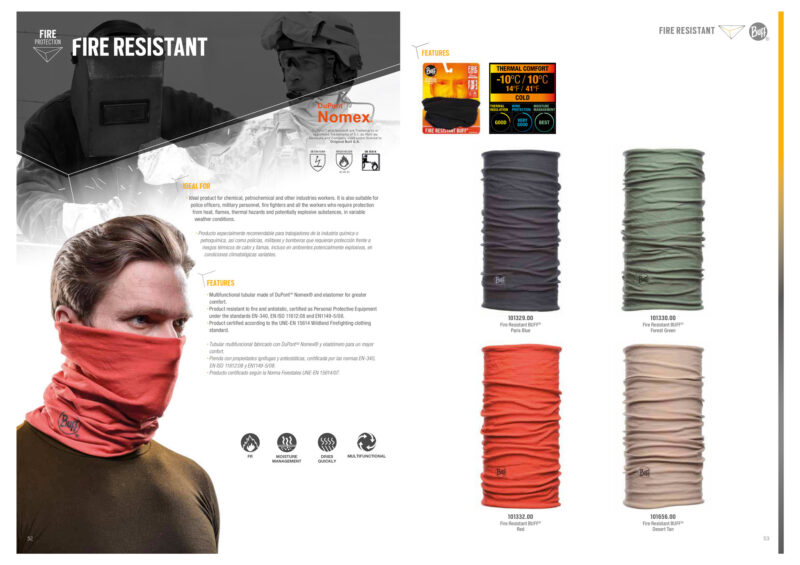 Image of the Nomex® Fire Resistant Buff® catalogue page.