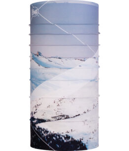 "Studio photo of the Coolnet UVurlencodedmlaplussign Buff® Mountain Collection Design ""Mont Blanc Blue"". Source: buff.eu"