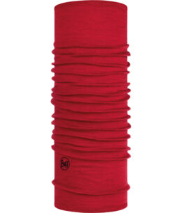 "Studio photo of the Lightweight Merino Wool BUFF® Design ""Solid Red""."