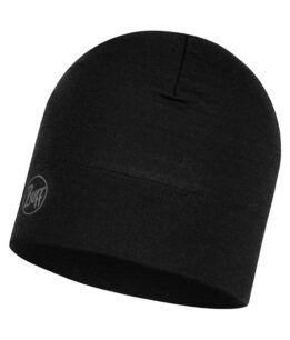 "Studio photo of the BUFF® Midweight Merino Wool Hat Design ""Solid Black"". Source: buff.eu"