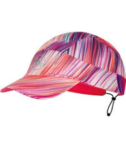 "Studio photo of the BUFF® Pack Run Cap Design ""Reflective Jayla Rose Pink"". Source: buf.eu"