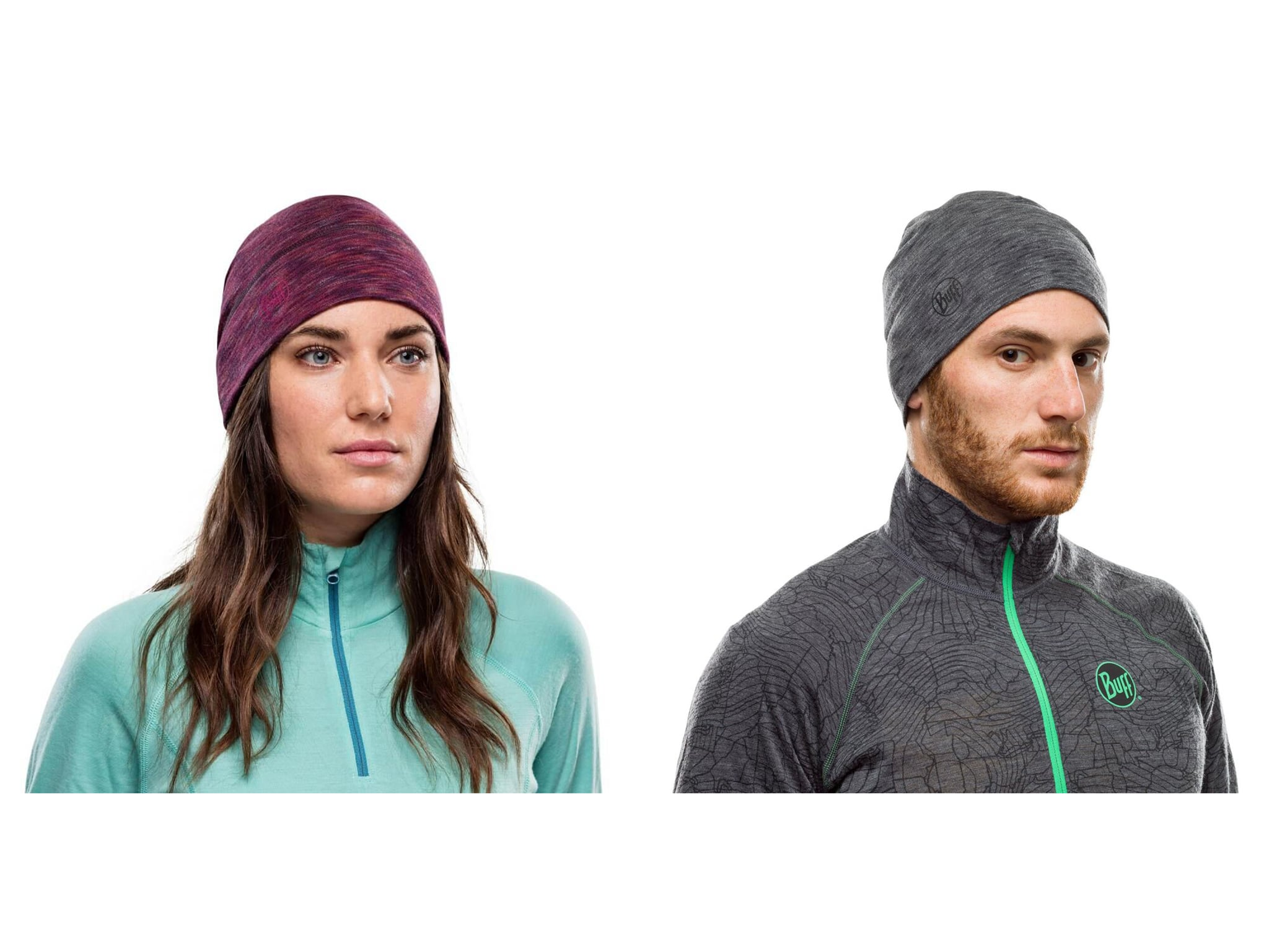 A montage of a man and a woman wearing a BUFF® Midweight Merino Wool Hat. They are both wearing winter running gear. Source: Technicalheadwear.com.au