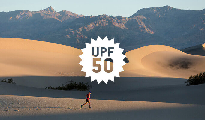 A montage showing a runner running through a desert. Superimposed is a logo of saying UPF50. Source: buff.eu