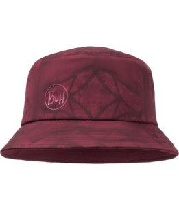 """Studio photo of the BUFF® Trek Bucket Hat Design """"Calyx Dark Red"""". Source: buff.eu"""
