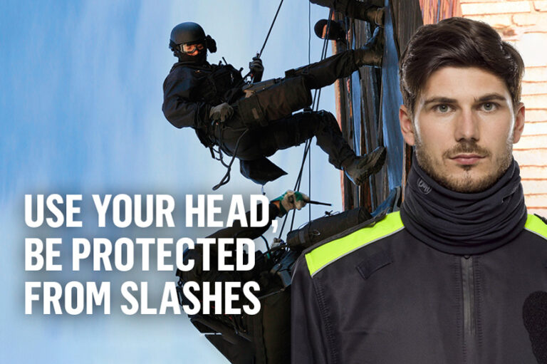 """A montage showing a police man in the foreground wearing a Cut+Fire Resistant BUFF® as scarf. Next to it, it says """"Use your head. Be protected from slashes"""". In the background you see special forces members abseiling a building."""