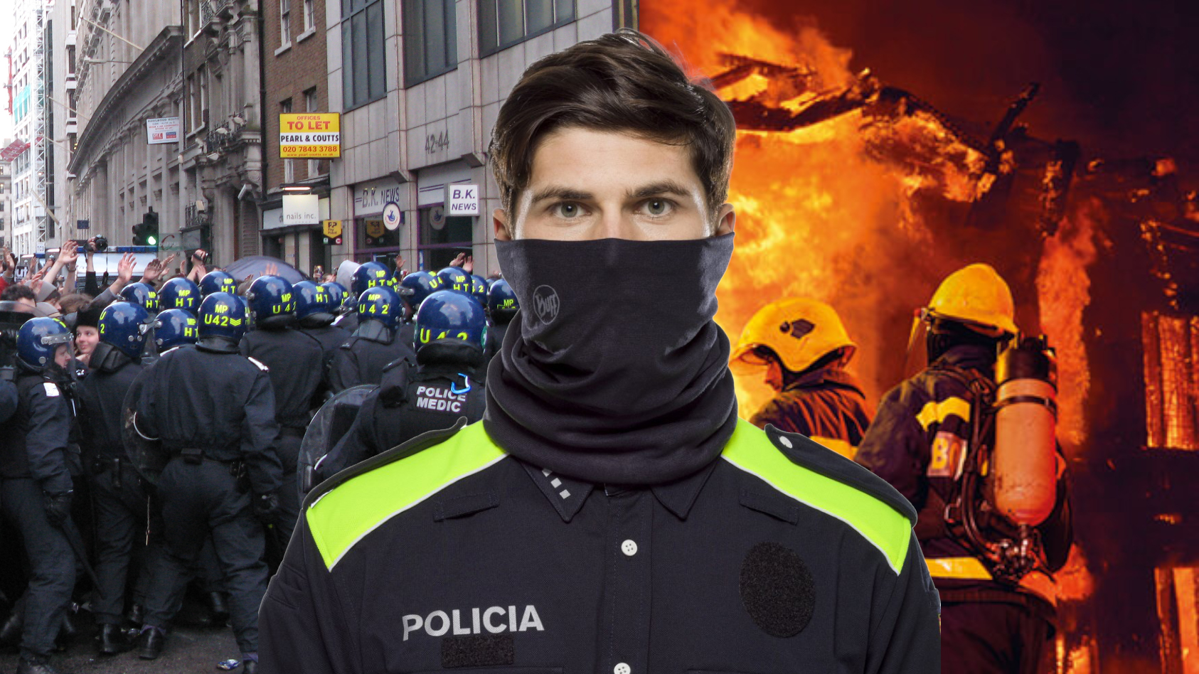 A montage showing a policeman wearing a Cut+Fire Resistant BUFF® as a face mask. In the background, you have a scene of police forces controlling a demonstration. On the right-hand side, you have structural fire fighters attending a burning house.