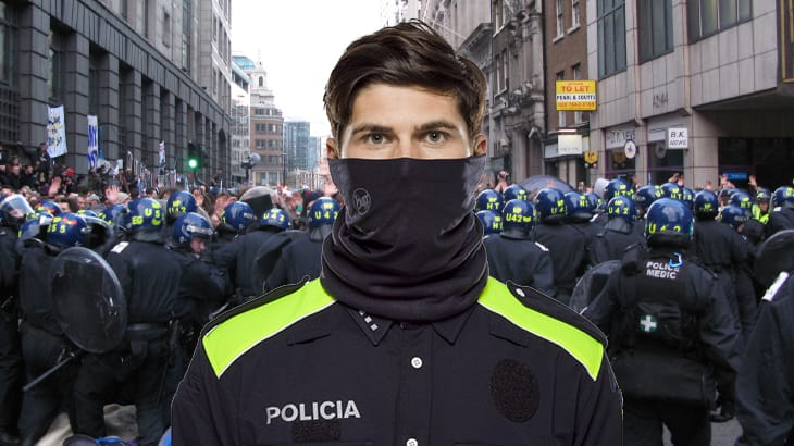 A photo montage showing a male police officer wearing a BUFF® Cut Resistant tube. In the background we see police force trying to hold back protesters