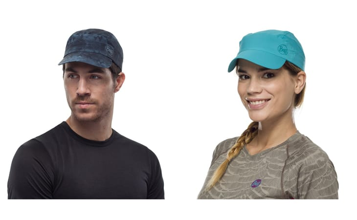 A montage of a man and a woman wearing the BUFF® Pack Trek Cap. They are both wearing lightweight, short-sleeved hiking shirts for trekking in a hot and sunny environment.